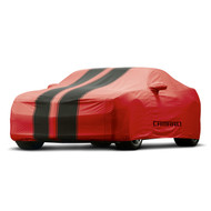 Vehicle Cover - Outdoor - Red with Black Stripes, Camaro Logo - Convertible