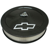 "14"" Super-Light Air Cleaners - Carbon fiber, silver Bowtie logo"