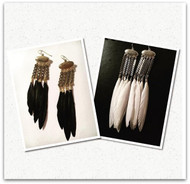 Brass and Feather Chandelier Earrings