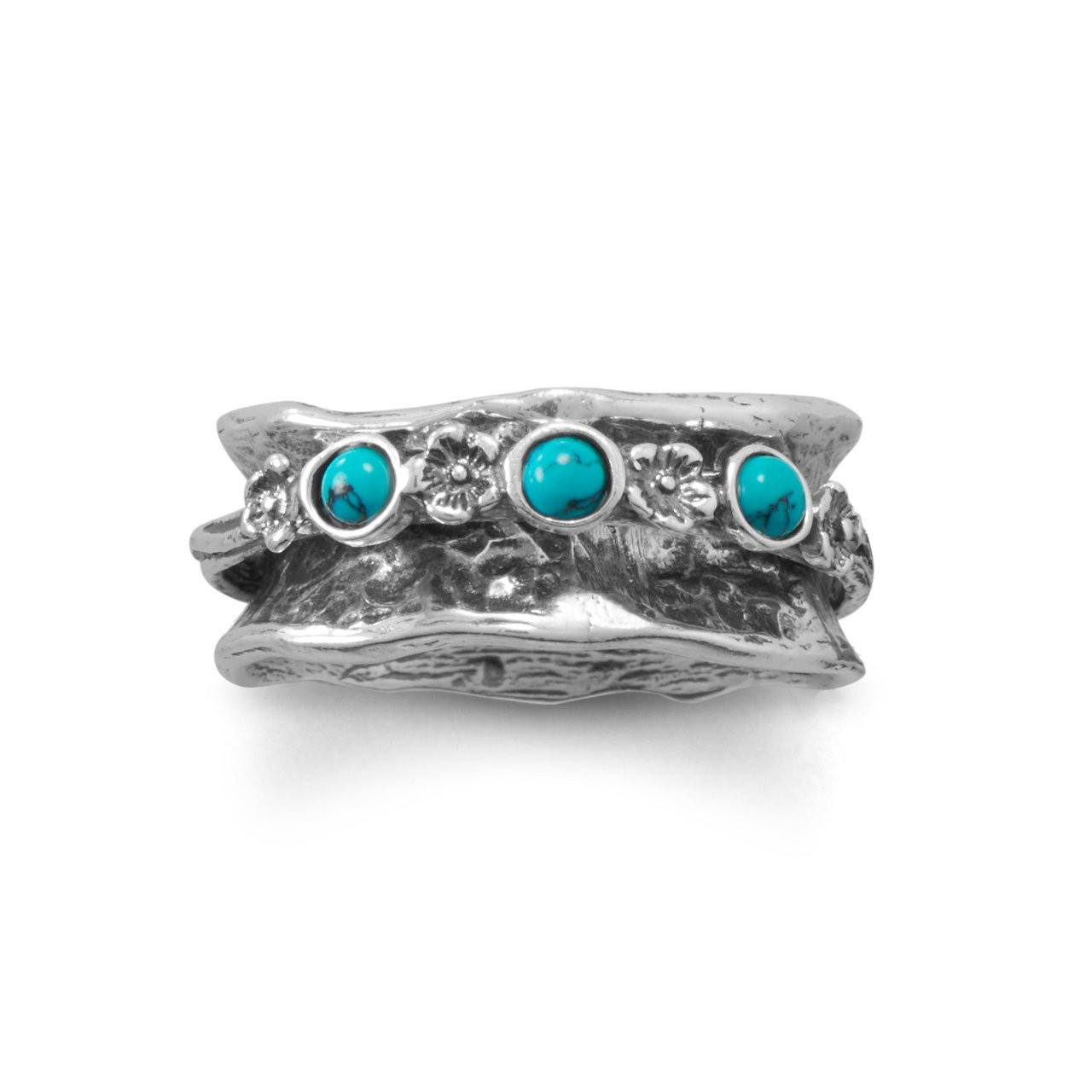 e4986075e Oxidized Spin Ring with Reconstituted Turquoise Stones - KVK Designs