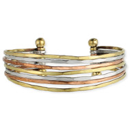 Mixed Metal Hammered 7 Line Cuff Bracelet