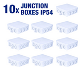 10 x Waterproof IP54 Junction Boxes 100x39x100mm