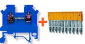 10 x Din Rail Threaded Connectors 4mm + 10-Way Connector Bridge