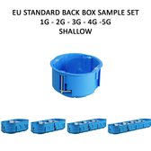 EU Standard Back Boxes ⌀60mm - 1G to 5G - Shallow (40mm deep) - Sample Set