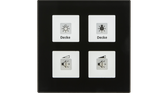 Glass Push Button Plus 4-Fold Black