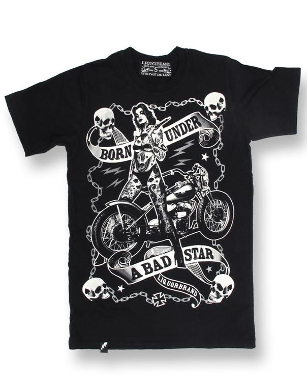 Biker chick liquorbrand t-shirt
