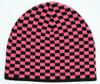 Check S black-pink mix beanie