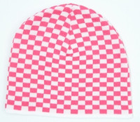 Check S pink-white mix beanie