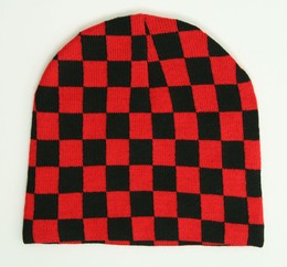 Check L black-red mix beanie