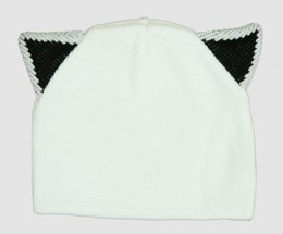 Cat ears white-black mix beanie