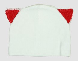 Cat ears white-red mix beanie