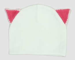 Cat ears white-pink mix beanie