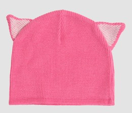 Cat ears pink-white mix beanie