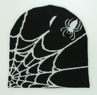 Spiderweb black-white mix beanie