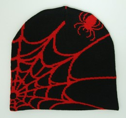 Spiderweb black-red mix beanie