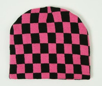 Check L pink-black mix beanie