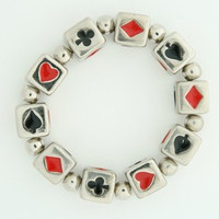Poker silver dice bracelet