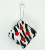 1 Dice zebra black-white / red 1 dice car accessory