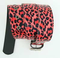 Leopard red P mix belt
