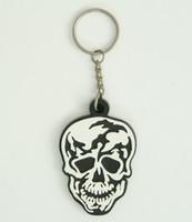Skull black-white colorful key ring