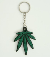 Marijuana leave S colorful key ring