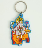 Ganesha seat blue colorful key ring