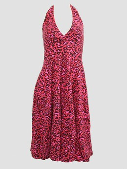 Front - Leopard pink marilyn dress