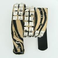 Zebra brown belt studs belt