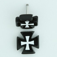 Hero Cross / cross black-white flat fake piercing