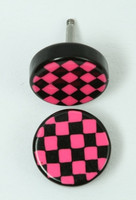 Check black-pink flat fake piercing