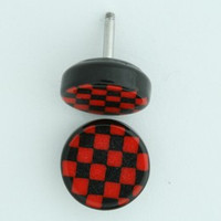 Check black-red flat fake piercing