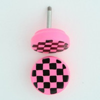 Check pink-Bl flat fake piercing