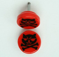 Cat bone red flat fake piercing