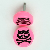 Cat bone pink flat fake piercing