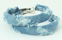 Jeans blue creole ear ring