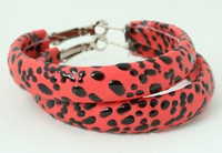 Leopard red P creole ear ring