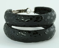 Leopard black P creole ear ring