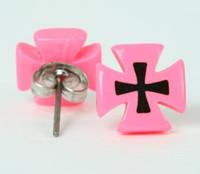 Hero cross / cross pink circular reference stud