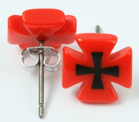Hero cross / cross red-black circular reference stud