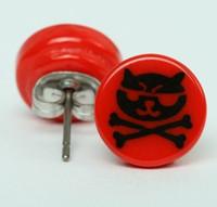 Cat bone red circular reference stud