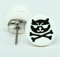 Cat bone white-black circular reference stud