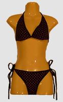 Dot black-pink bikini lady