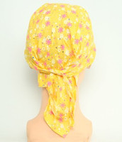 Flower yellow bandana headwear