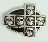 Skull cross oval big buckle