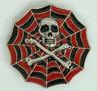 Skull spiderweb red big buckle