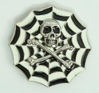 Skull spiderweb white big buckle