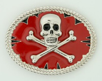 Skull bone red big buckle