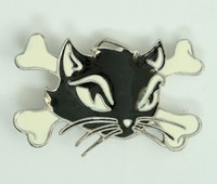 Cat bone black-white medium buckle