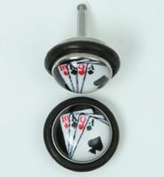 Poker card half globe fake piercing