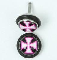 Hero cross black-white-pink half globe fake piercing